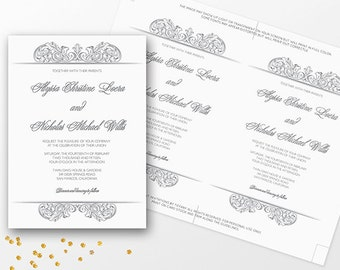 Template Printable Wedding Invitation   Instant Download   Editable Text    Microsoft Word Format   104