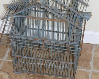 SATO GORDON ??,Wood Bird Cage, Home Decor, Event Decor, Wedding Decor, Dark Blue, Chipping Paint, Vintage Cage
