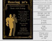 Printable Gold & Black Put on The Ritz Art Deco Retro Roaring 20's Birthday Party Invitation Template