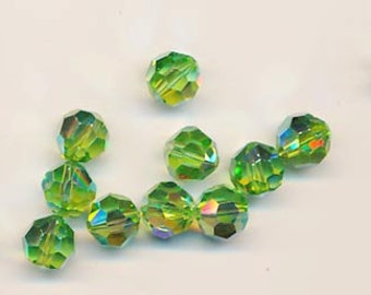Twelve Swarovski crystals - Art. 5000 - 10 mm - peridot AB 2X