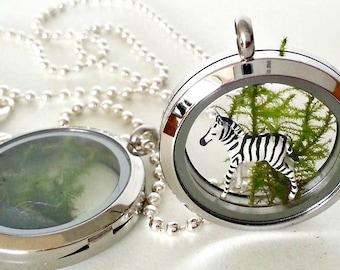Zebra Terrarium Pendant