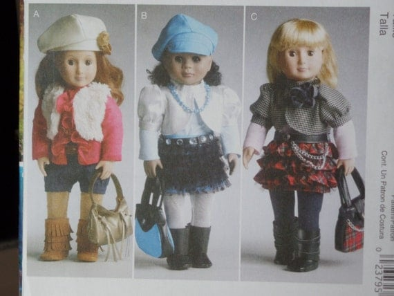 """18"""" Doll Clothes Ruffle Skirt, Vest, Hat Belt, Boots, purse, McCalls 6480 Sewing Pattern"""