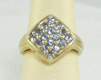"Tanzanite Diamond Cube 925 Sterling Ring, Sweet ""16"" Ring, Diamond Shaped 16 Round Stone Tanzanite Sterling Ring, Blue Diamond Gem 925 Ring"
