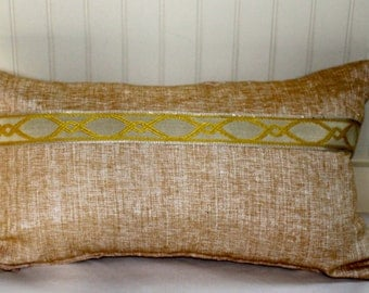 IN STOCK / Gold Lumbar Pillow Cover / 14 X 26 / Same fabric both sides with decorative trim