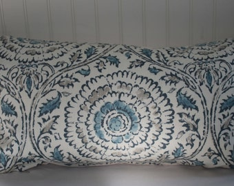 IN STOCK / Blue, Grey and Ivory Suzanni Pillow Cover / 14 X 26 / Natural Cotton Duck  Back