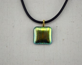 Dichroic Glass Pendant - Fused Glass Pendant - Dichroic Pendant - Dichroic Jewellery - Striped Pendant - Pendant Necklace