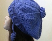 Crocheted Beret Hat - Slouch Hat  - Crochet Blue Beret - FREE UK DELIVERY