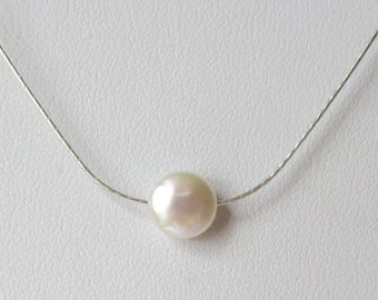 Small AA Coin Pearl on a Very Fine Gauge Sterling Silver Woven Chain