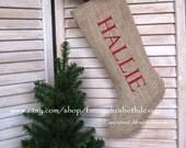 FREE SHIPPING Burlap Stocking-Personalized Stockings-Burlap Stocking-Burlap Christmas Stockings-Stocking-Christmas Stocking-Burlap Stockings