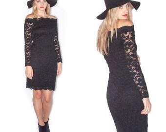 80s  L.Magnin Black Long Sleeve Lace Dress// Size M