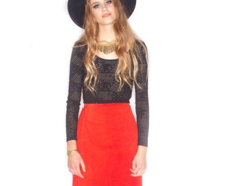 Vintage Red Suede Pencil Skirt// Size 6