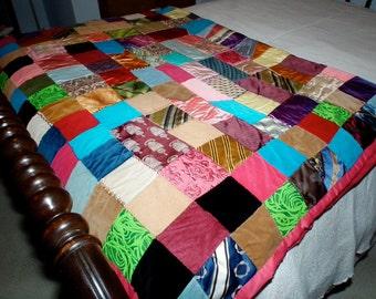 Vintage twin crazy quilt