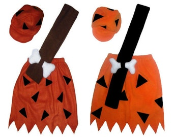Bamm Bamm Flintstones Rust/Brown or Orange/Black Custom Made Kids Halloween Costume
