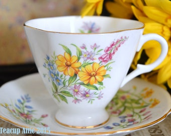 Windsor Floral Bouquet Teacup and Saucer Set, c. 1946-60