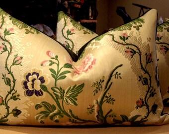 "Old World Weavers ""MONTPENSIER"" French Brocade Custom Lumbar Pillows Pair - Beacon Hill Velvet Back -12"" by 19"" - 1 PAIR AVAILABLE"
