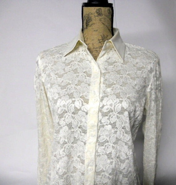 Vintage Lace Blouse Sheer Ivory Top Rafaella Satin collar and cuffs Women's Small Medium