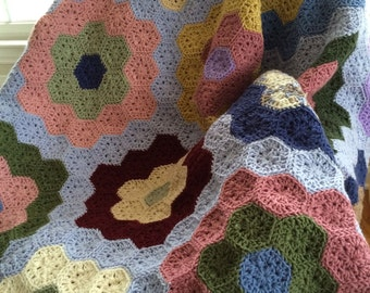 PATTERN - Crocheted Grandma's Flower Garden Coverlet Pattern with Tips