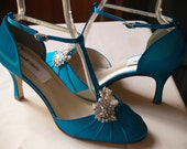 Teal Wedding Shoes mid heels Vintage style closed toes 40s style shoes, art deco, something blue, rouged satin, rounded toe, T strap heels