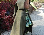 "Hobbit Lord of the Rings fellowship traveler Inspired Cloak Cape - American Girl 18"" Doll Microsuede - Once Upon a Time Dwarf Elf"