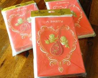 "Vintage Hallmark ""Plans-a-Party"" Valentine's Day Party Invites--Three Packs of 8 Cards and Envelopes--Bright Red w/ Cherubs, Gold--Adorable!"