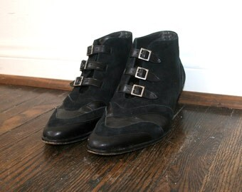 Witch Boots / Black Suede Boots / Minimalist Shoes / Leather Booties Sz 6