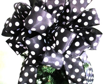 Black & White Polka Dot / Christmas Tree Bow / Tree Topper Bow