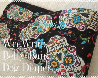 Dog Diaper Belly Band, Stops Marking, Male Dog, Sugar Skull Fabric, Personalized, Fast Shipping