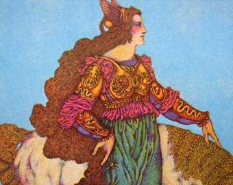 1978 vintage print, book plate, Lady & unicorn, mythical mounted print, ready to be framed