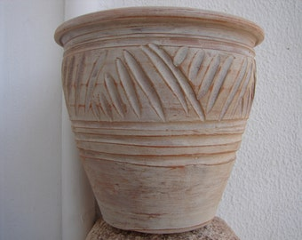 vintage Greek ,clay terracotta, heavy planter pot, old painted garden plant pot-shabby chic