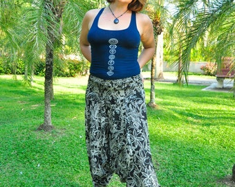 Harem Pants in Cotton, Black & White Mixed Floral Print