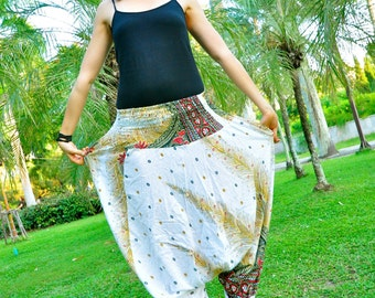 Harem Pants in Cotton, Elegant white with amazing golden/red/black feather paisley design