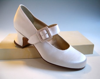 Peter Fox Wedding Shoes, Size 5, Mary-Jane Style, White Silk-Satin, Made In Italy
