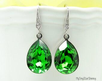 Crystal Swarovski Earrings Green Earrings FERN GREEN Earrings Bridal Earrings Bridesmaid Gift Wedding Earrings Bright Green Earrings