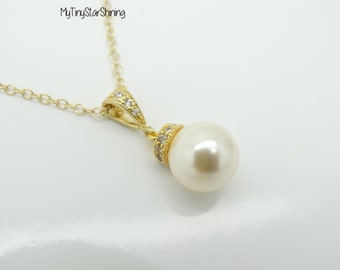 WHITE Pearl Necklace IVORY Pearl Necklace Gold Pearl Necklace Bridesmaid Gift Bridal Necklace Wedding Jewelry Pearl