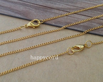 100pcs 27inch gold color Link  chain With Clasp 1mmx2mm