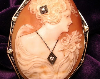 Very   Large Antique  Double Diamond 14 K White Gold Cameo