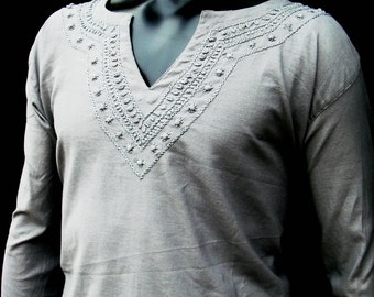 Grey shirt for Mens handmade tunic kurta on Valentines day Plus size long sleeved beach wear wedding gift for him Clearance sale february