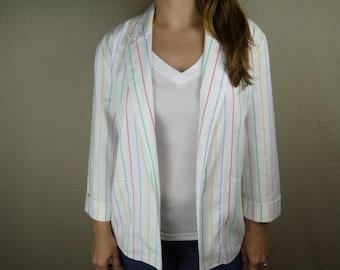 Vintage Colorful Striped Blazer