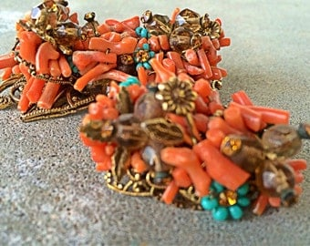 Vintage early Miriam Haskell Spetzy coral and turquoise brooch pair hand wired beauties Russian gold filigree