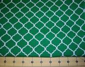 Full Yard -  Kelly Green and White Quatrefoil Fabric By The Yard One Yard Cut Green Quatrefoil Pattern Print Cotton Fabric Geometric Fabric