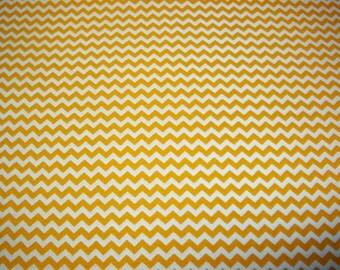 Full Yard - Mustard Yellow Gold Chevron Fabric By The Yard - One Yard Cut Mustard Mini Chevron Small Tiny Narrow Chevron Cotton Fabric