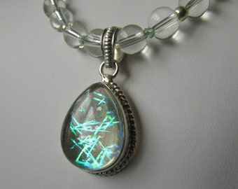 Electric Tinsel Quartz and Glass Necklace