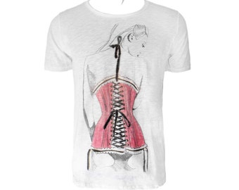 White slub cotton and cut out scoop neck tshirt with woman wearing a red corset with black laces. regular fit and scoop neck