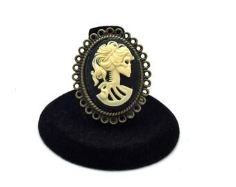 Steampunk Cameo Ring, Skeleton Ring, Skull Ring, Goth Ring, Lolita Ring, Rockabilly Ring, Rocker Ring, Halloween Ring