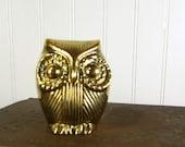 Vintage Brass Owl - Woodland Bird Figurine - Collectible