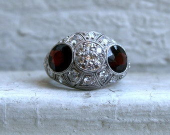 Vintage Platinum Diamond and Garnet Art Deco Engagement Ring - 4.45ct