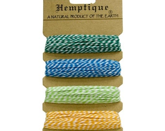Tutti Frutti  Cotton Bakers Twine Sampler by Hemptique, 4 colors - 120 Feet Total