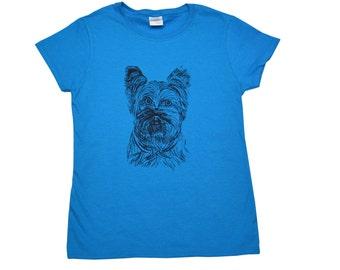 Yorkshire Terrier Screen Printed Women's T-Shirt S M L XL 2XL Dog Shirt