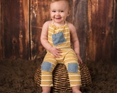 6-12 month boys romper, baby boy outfit, boy photo prop, little sitter photography outfit, denim, yellow stripe