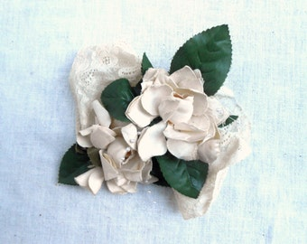 Vintage Hat Decor Millinery Camellia Flowers with Antique Lace